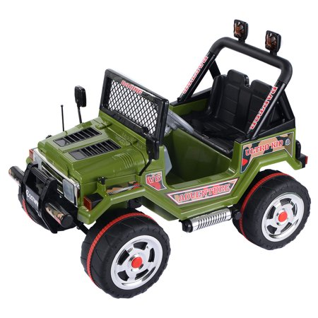 Costway 12V Mp3 Kids Raptor Jeep Truck Rc Ride On Car W  Double Motors   Batteries Green