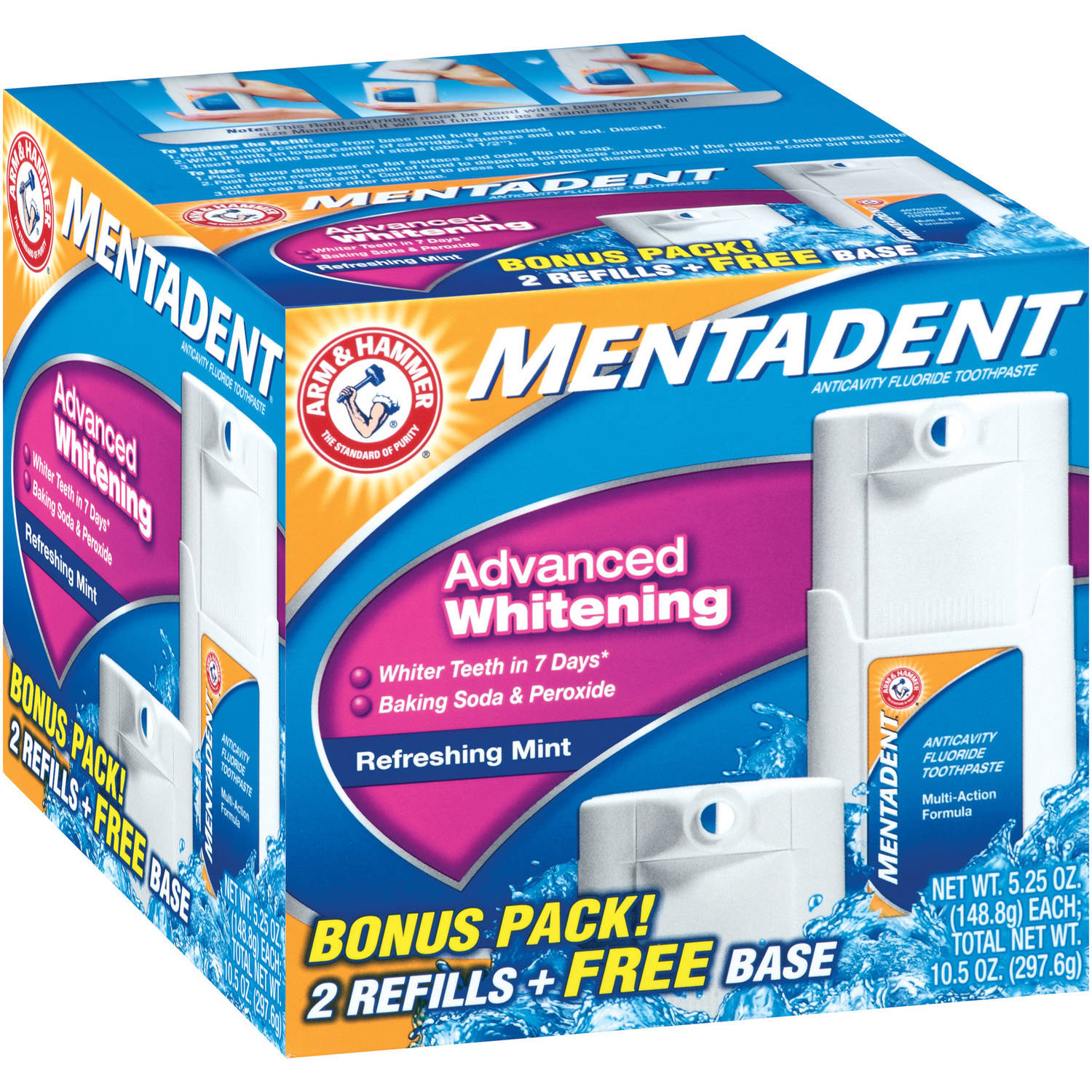 Arm & Hammer Mentadent Advanced Whitening Refreshing Mint Toothpaste, 10.5 oz