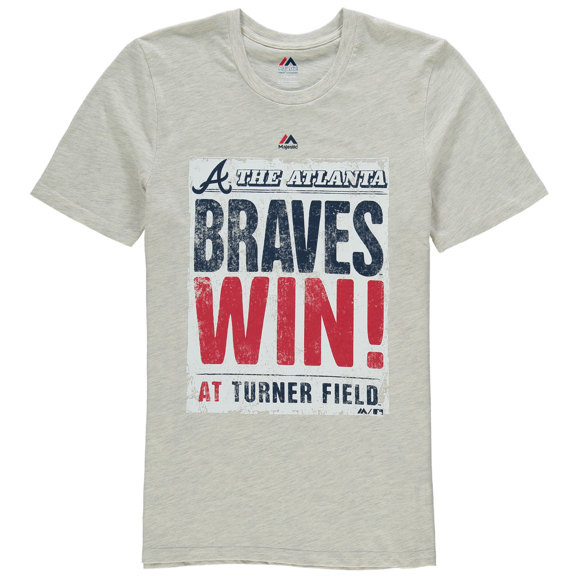 Atlanta Braves Majestic Youth Front Page T-Shirt - Cream