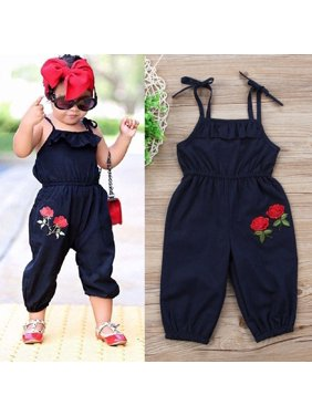 128606315363 Product Image Boutique Toddler Kids Baby Girls Strap Flower Romper Jumpsuit  Playsuit Outfit Clothes 1-6Y