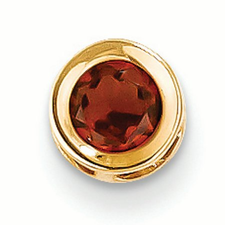 14K Yellow Gold 5 MM Garnet Solitaire Bezel Charm Pendant