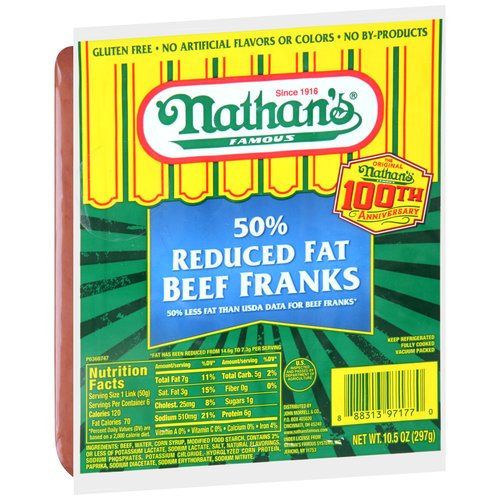 Nathan's Famous 50% Reduced Fat Beef Franks, 6 count, 10.5 oz