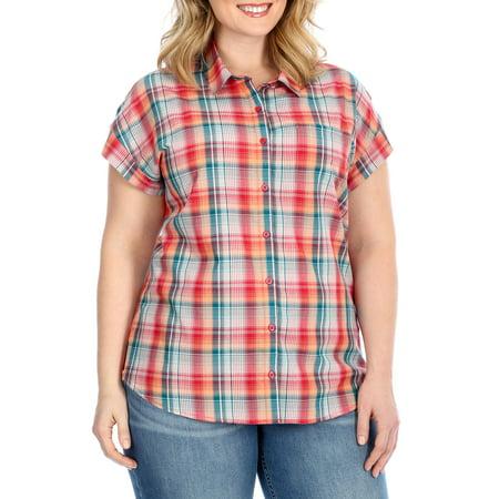 Lee Riders Women's Plus Size Cap Sleeve Button-Front Plaid Shirt