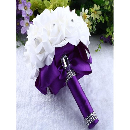 Crystal Roses Bridesmaid Wedding Bouquet Bridal Artificial Silk Flowers Purple