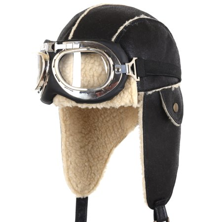 ililily Aviator Hat Winter Snowboard Fur Ear Flaps Trooper Trapper Pilot Goggles , Black/Beige - Airplane Pilot Hat