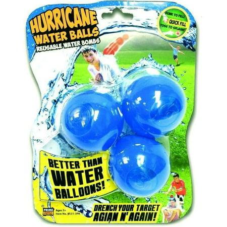 Prime Time Toys Splash Bombs - Hurricane Reusable Water Balls (3-Pack / Colors Vary)