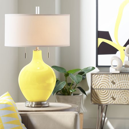 Color Plus Modern Table Lamp Lemon Twist Yellow Gl Gourd White Drum Shade For Living Room Family Bedroom Bedside Nightstand