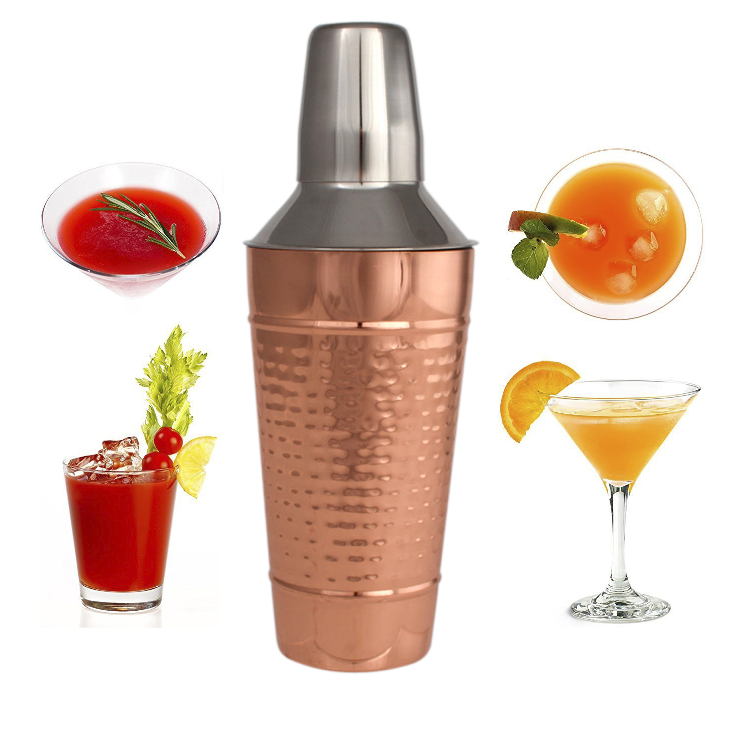 25 Oz Copper Stainless Steel Cocktail Shaker Cocktail Mixer W  Jigger Cap & Strainer by