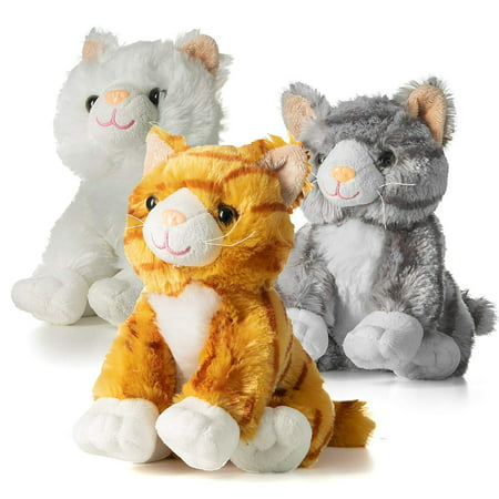 Prextex 10-Inch-Tall Realistic Looking Big Plush Stuffed Animals Cats Pack of 3