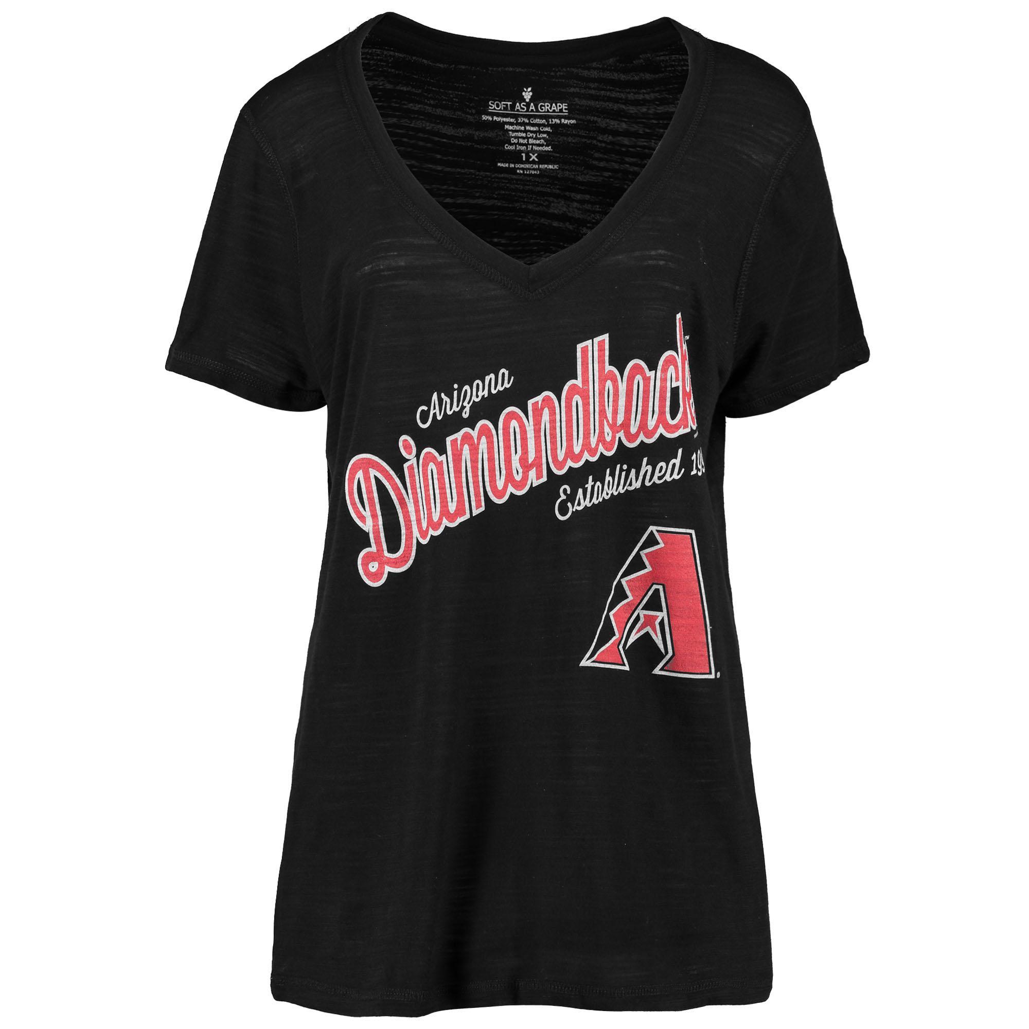 Arizona Diamondbacks Soft As A Grape Women's Plus Size Fastball V-Neck T-Shirt - Black