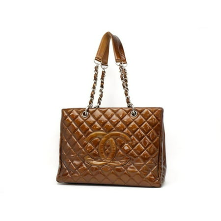 Shopping Tote Bronze Copper Quilted Chain Grand Gst 231199 Brown Patent Leather Shoulder Bag