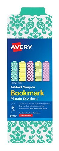 Avery Mini Snap-In Plastic Bookmark Dividers, 24922, 5 Tabs, 1 Set, Assorted Designs by Avery Products Corporation