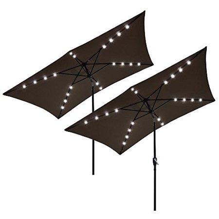 Ghp 2 Pcs 10 X6 5 Chocolate 6 Rib Patio Umbrella With Base Stand 20 Led Lights