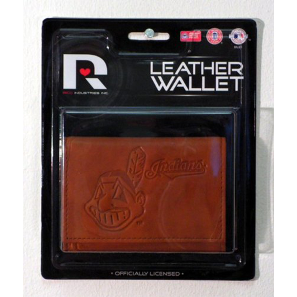 Cleveland Indians Embossed Leather Trifold Wallet (Manmade Interior)