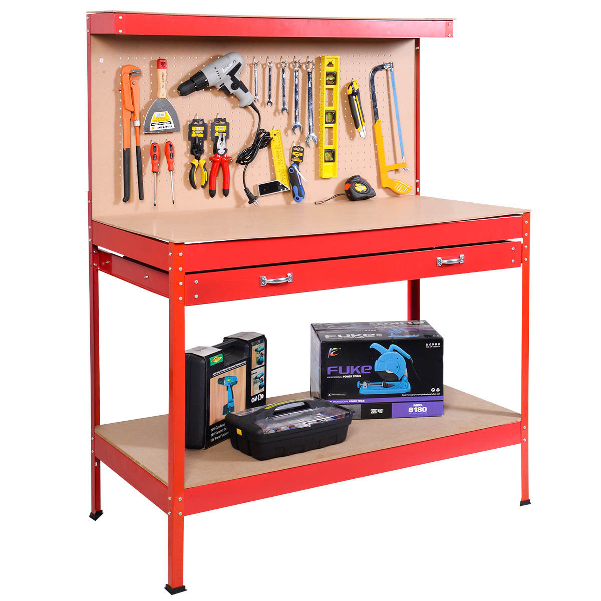 Costway Work Bench Tool Storage Steel Tool Workshop Table W/ Drawer and Peg Board Red
