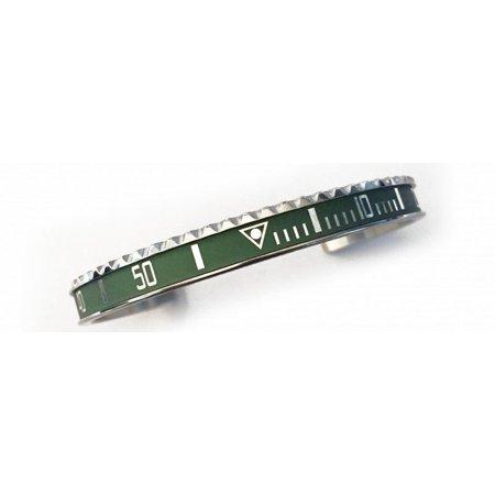 - Silver Steel Vintage Matt Green & Silver Bangle Bracelet