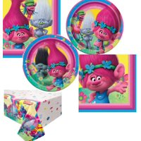Trolls Party Supplies Set-Serves 8-Includes Napkins, Large Plates, Small Plates, Table Cover