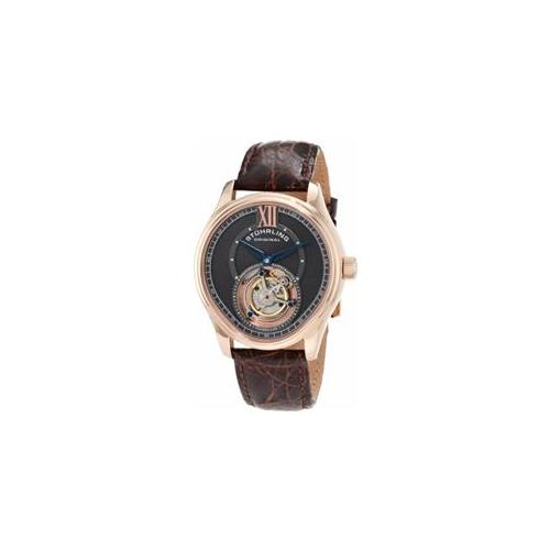 Stuhrling Original 361. 334K54 Mens Special Reserve Everest Tourbillon RG Case on Brown Croc Strap with Gray Dial Watch