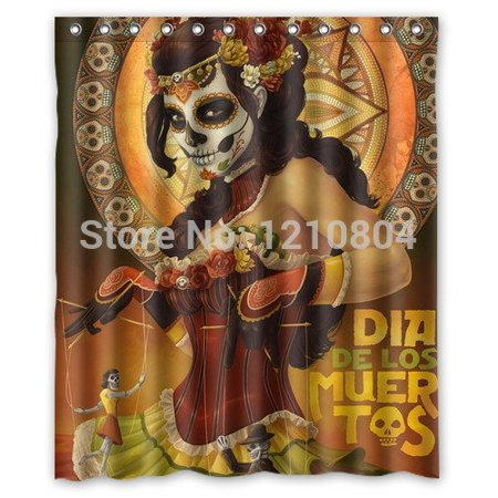 DEYOU Mexico Day Of The Dead Make Up Shower Curtain Polyester Fabric Bathroom Size