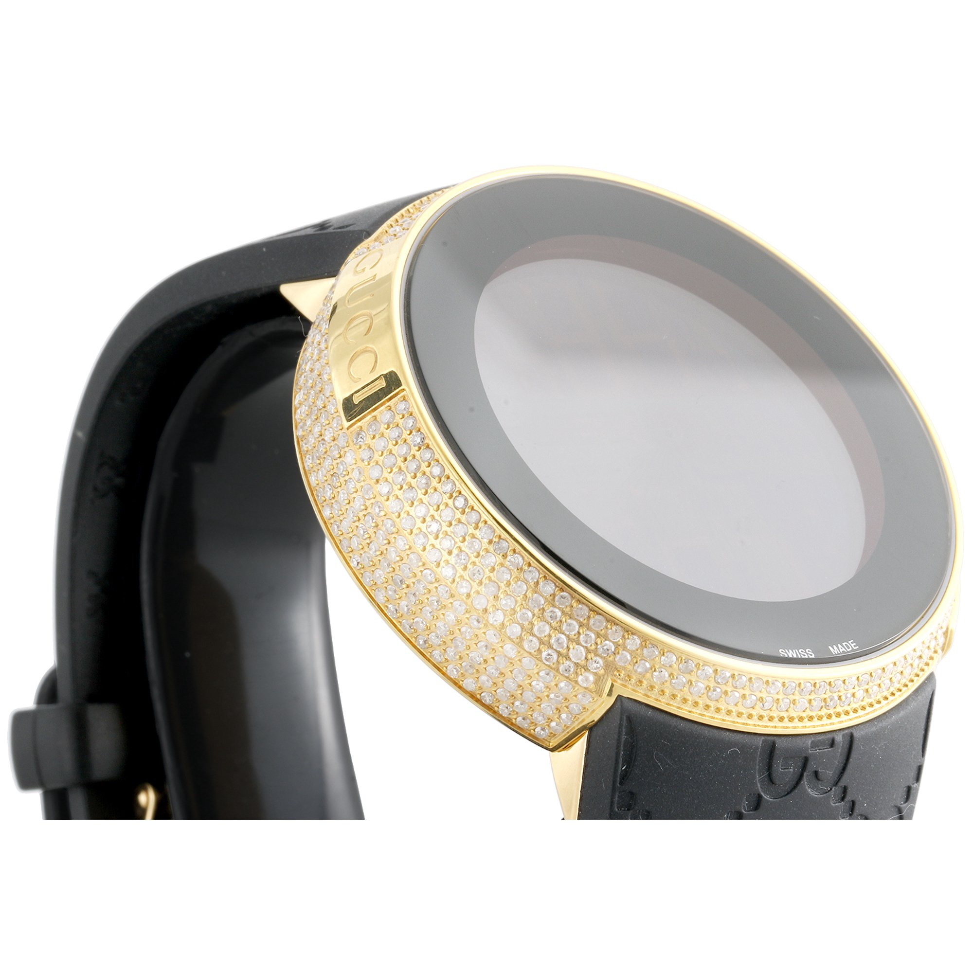 f02f91a11d7 Mens YA114229 I-Gucci Digital White Diamond Watch 44mm Yellow Steel Case  2.50 CT