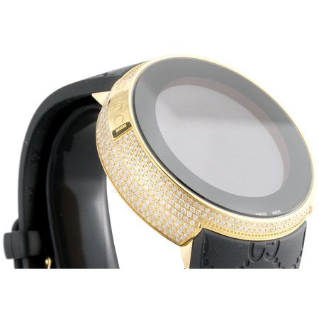 Mens YA114229 I-Gucci Digital White Diamond Watch 44mm Yellow Steel Case 2.50 CT