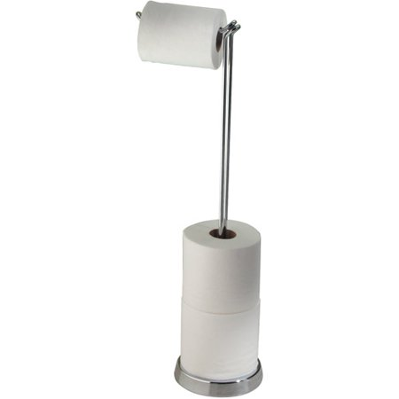 interdesign classico free standing toilet paper roll holder for bathroom storage - chrome