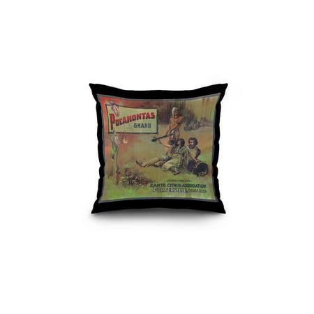 Pocahontas Orange Label (16x16 Spun Polyester Pillow, Black Border)