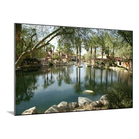 A Beautiful and Tranquil Man Made Pond on a Golf Course Wood Mounted Print Wall Art By mikeledray