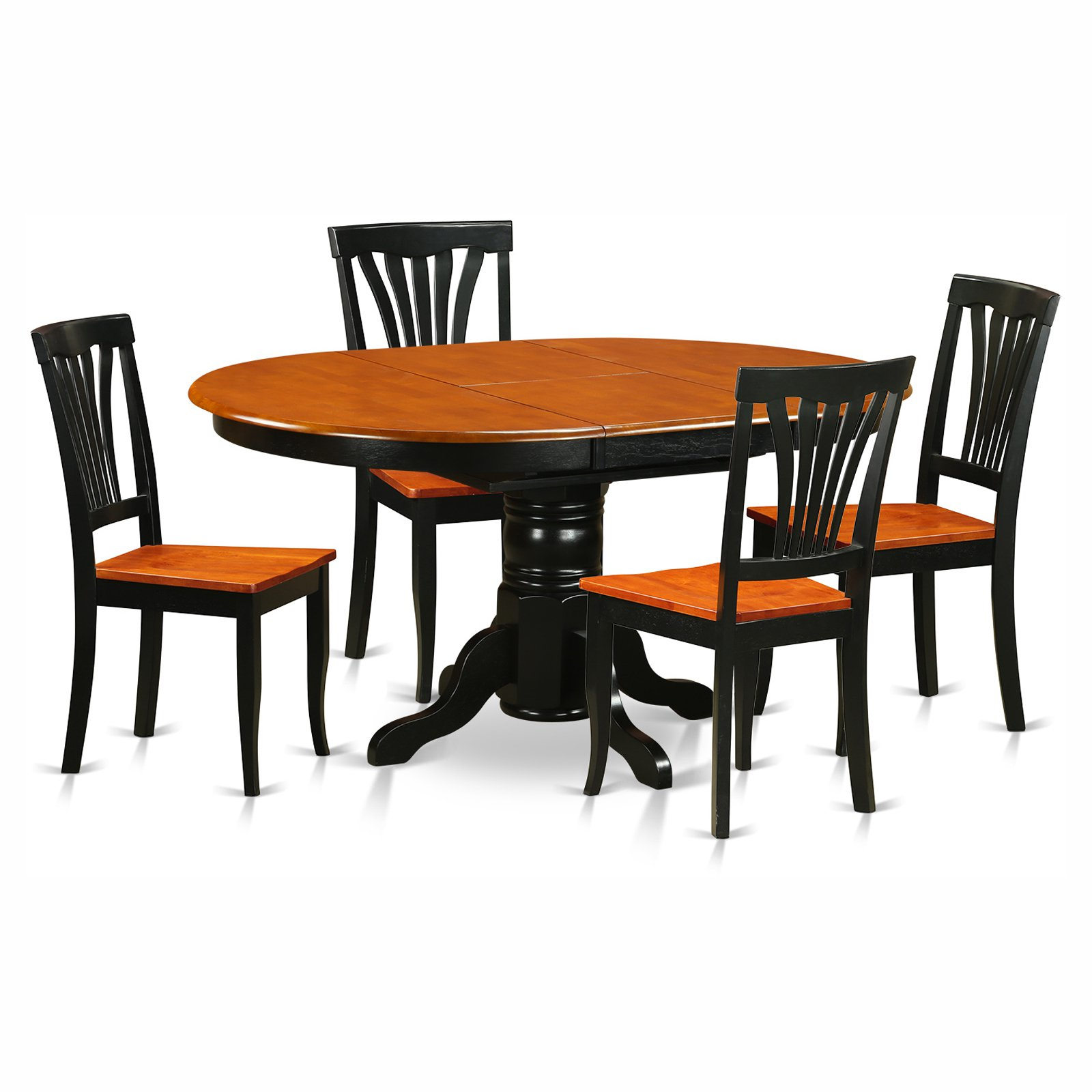 East West Furniture Avon 5 Piece Pedestal Oval Dining Table Set with Wooden Seat Chairs