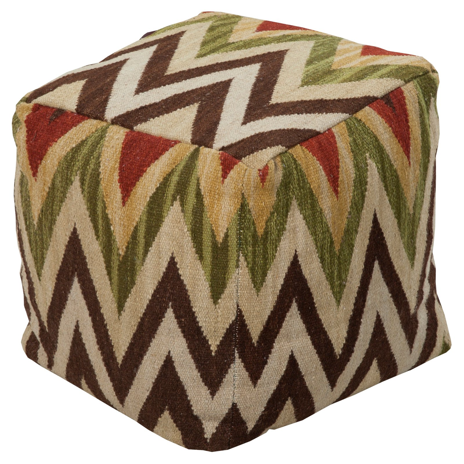 Surya 18 in. Cube Wool Pouf Khaki   Moss by Surya Rugs