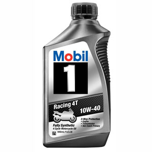 Mobil 1 10W40 Synthetic 4T Motorcycle Motor Oil 1 qt 6 pc P/N 122286