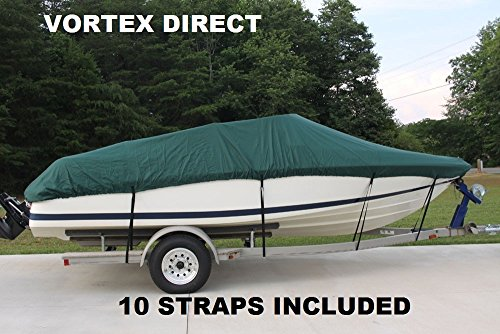 VORTEX HEAVY DUTY 13', 14', 15' *GREEN* VHULL FISH SKI RUNABOUT COVER FOR 13 TO 15 FT BOAT (FAST SHIPPING 1 TO 4... by Vortex