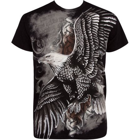 Sakkas Flying Eagle Metallic Silver Embossed Cotton Mens Fashion T-Shirt - Black - 2XL