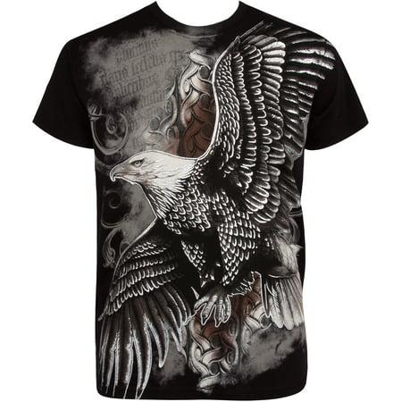 Sakkas Flying Eagle Metallic Silver Embossed Cotton Mens Fashion T-Shirt - Black - 2XL for $<!---->