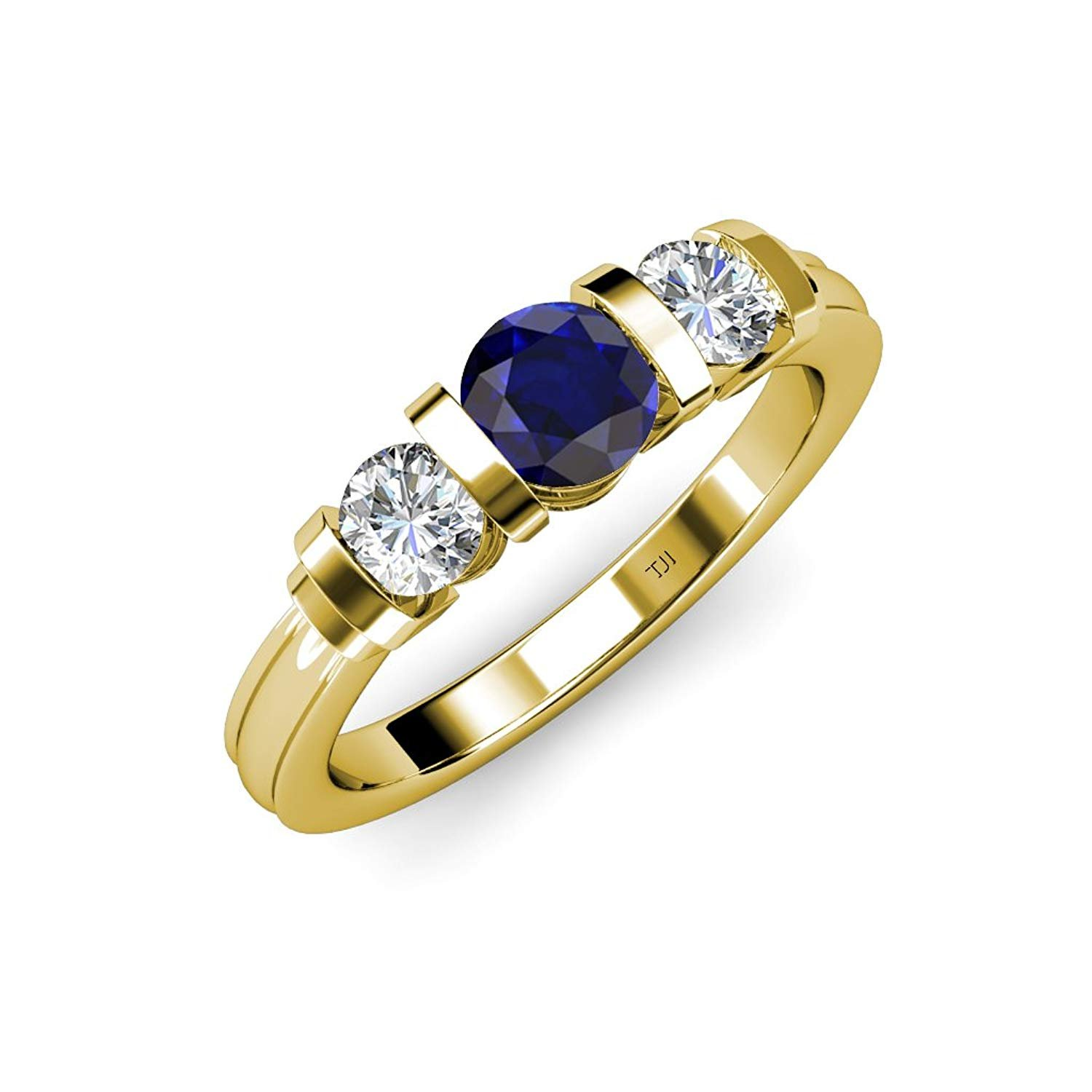 Blue Sapphire and Diamond (SI2-I1, G-H) Bar Set Three Stone Ring 1.13 ct tw in 14K Yellow Gold.size 6.5 by TriJewels
