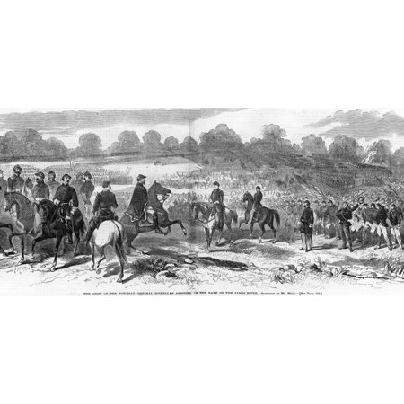 Seven Days Battles 1862 Nthe Arrival Of Union Commander George B Mcclellan On The Bank Of The James River Virginia 29 June 1862 Wood Engraving From A Contemporary American Newspaper Rolled Canvas Art