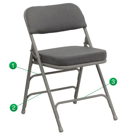 Flash Furniture HERCULES Series Premium Curved Triple Braced and Double Hinged Fabric Upholstered Metal Folding Chair, Multiple Colors ()