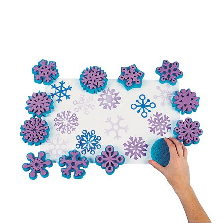 Fun Express - Fantastic Foam Snowflake Stamps - dz for Winter - Stationery - Stamps - Stamps - Self Inking - Winter - 12 Pieces - Foam Stamps