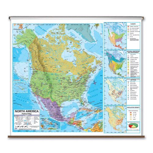 Universal Map State Wall Maps On Rollers With Backboards Walmart Com