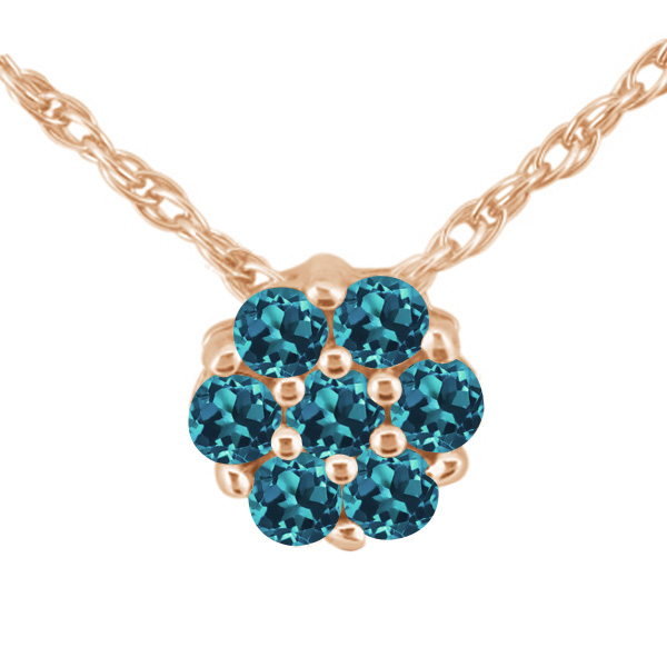 1.40 Ct Round London Blue VS Topaz 925 Rose Gold Plated Silver Pendant
