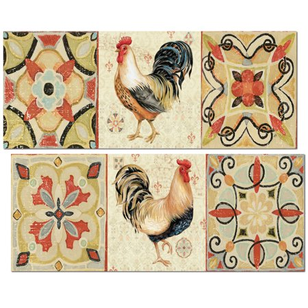 Lovely Patterned Country Rustic Rooster Set by Daphne Brissonnet; Two 18x8in Unframed Paper Posters