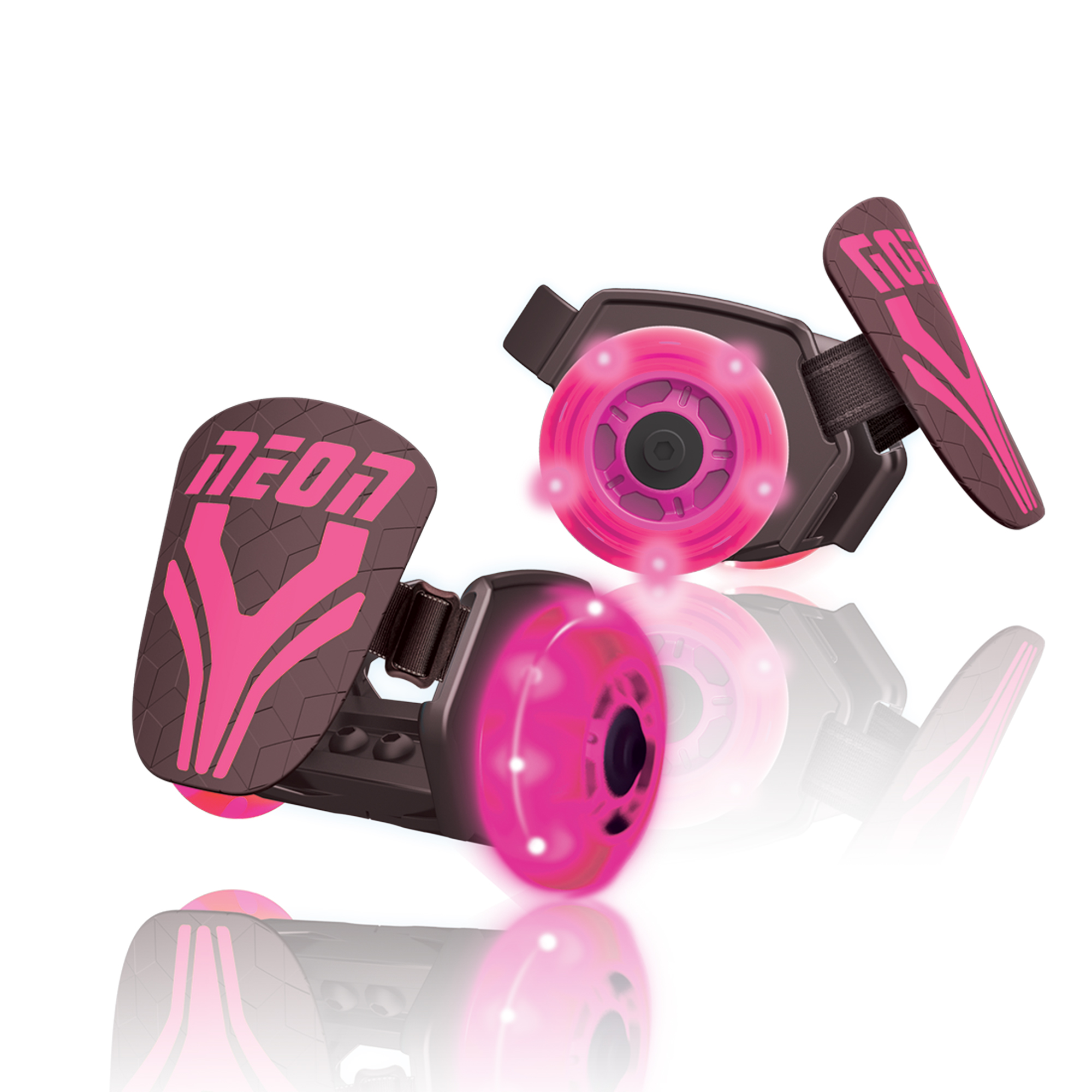 Neon Vybe Heel Skates Street Roller Pink for Kids, with LED light-up wheels