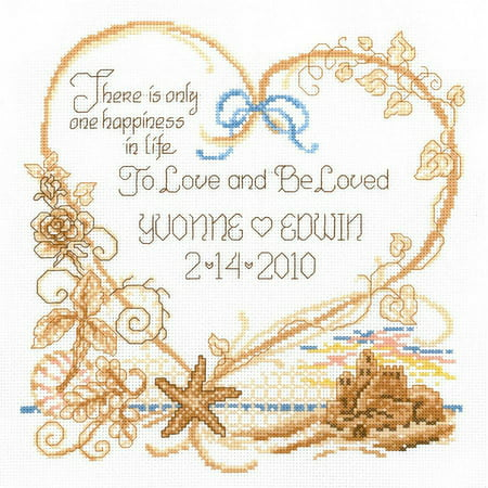 "Seaside Wedding Wedding Record Counted Cross Stitch Kit, 7.5"" x 8"", 14 Count"