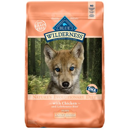 Blue Buffalo Wilderness High Protein Grain Free, Natural Puppy Large Breed Dry Dog Food, Chicken 20-lb