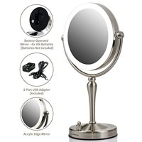 Ovente Tabletop Makeup Vanity Mirror 7.5 Inch with Dimmable LED Lights and 1X10X Magnification, Double-Sided with 360 Degree Swivel Design, Nickel Brushed (MKT75BR1X10X)