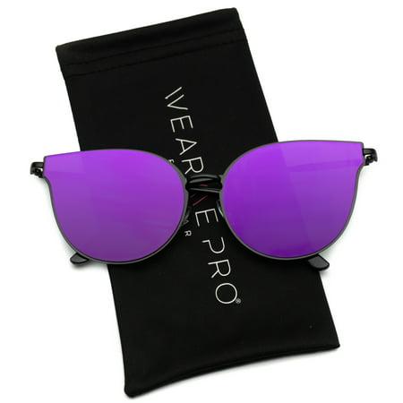 WearMe Pro - Elegant Fashion Designer Inspired Women Mirrored Cat Eye (Adidas Evil Eye Halfrim Pro Sunglasses)