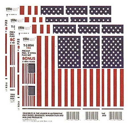 Pack Laser Stickers Flag Design - Trimbrite Sticker American Flag - 12 Pack