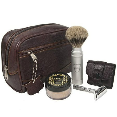 Parker Travel Shave Kit - Includes Parker Safety Razor's Dopp Bag, Travel Safety Razor, Travel Shave Brush and Travel Shave Soap (Razor Soap)
