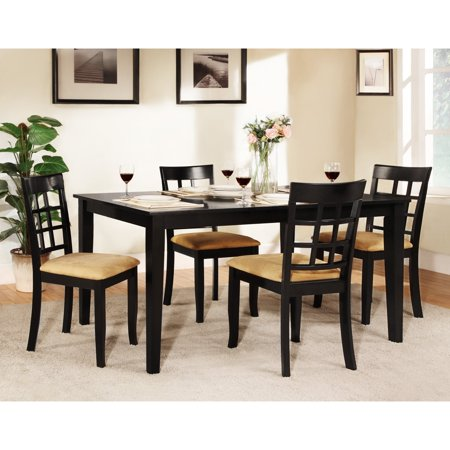 Homelegance Dining Table Set - Homelegance Tibalt 5 pc. Rectangle Black Dining Table Set - 60 in. with Window Back Chairs