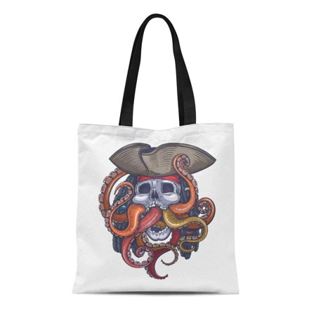 KDAGR Canvas Tote Bag Octopus Color Skull Pirate Tattoo Scary Sea Halloween Cool Reusable Shoulder Grocery Shopping Bags Handbag